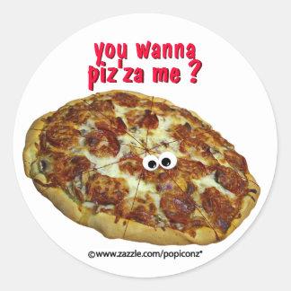 'you wanna piz'za me?' humorous parody Sticker