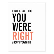 You Were Right Mom Mother's Day Postcard