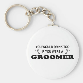 You would drink too if you were a groomer! basic round button keychain