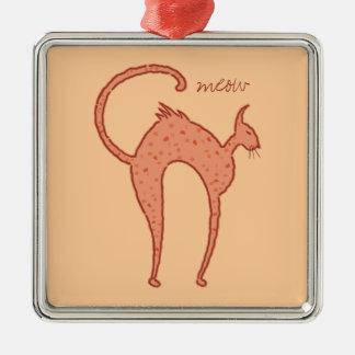 Youko meow Cat mirror Square Metal Christmas Ornament