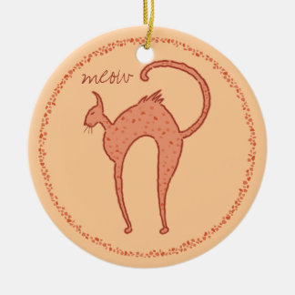 Youko meow Cat Double-Sided Ceramic Round Christmas Ornament