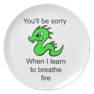 Youll be sorry - baby dragon dinner plate