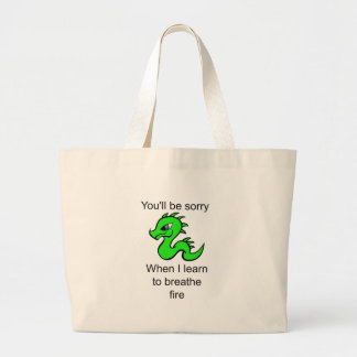 Youll be sorry - baby dragon large tote bag