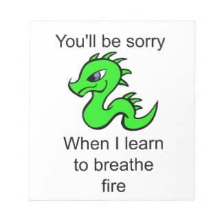 Youll be sorry - baby dragon notepad
