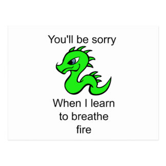Youll be sorry - baby dragon postcard