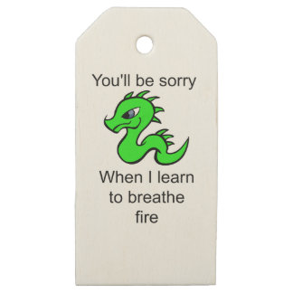 Youll be sorry - baby dragon wooden gift tags