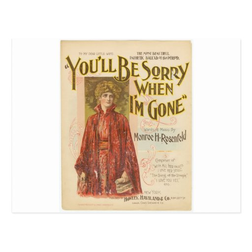 You'll be sorry when I'm gone Postcards