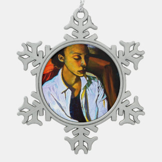 YOUNG AFRICAN AMERICAN ACTRESS SNOW FLAKE ORNAMENT