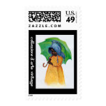 Young African-American Girl with Umbrella Postage Stamps