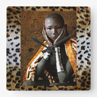 Young African Boy Square Wall Clock