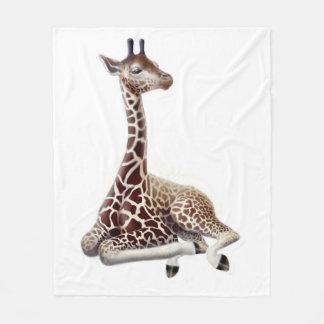 Young African Giraffe at Rest Fleece Blanket