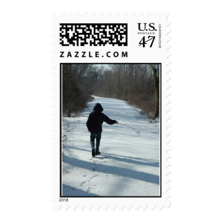 Young and Care Free Postage Stamp