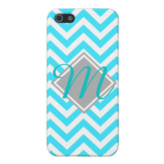 Young and trendy Teal Chevron Pattern monogram Cover For iPhone SE/5/5s
