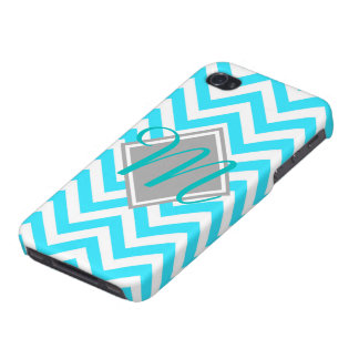 Young and trendy Teal Chevron Pattern monogram iPhone 4 Cover