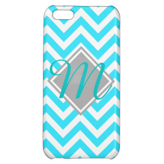 Young and trendy Teal Chevron Pattern monogram iPhone 5C Covers