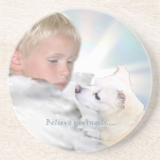 Young Angel and Small Dog Coaster