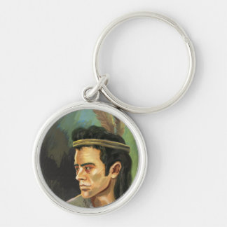 Young Apache warrior Silver-Colored Round Keychain