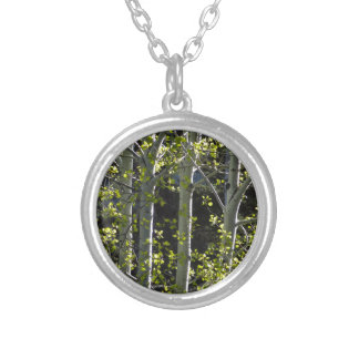 Young Aspen Trees Silver Plated Necklace