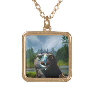 Young Bald Eagle and Misty Alaskan River Gold Plated Necklace