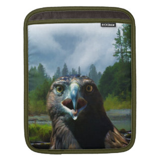 Young Bald Eagle and Misty Alaskan River iPad Sleeve