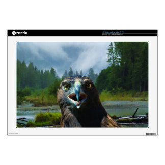 """Young Bald Eagle and Misty Alaskan River 17"""" Laptop Decals"""