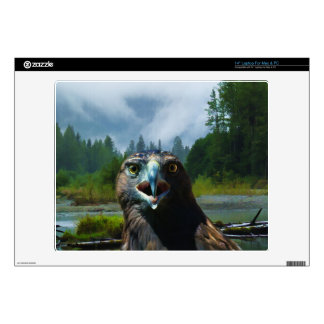 Young Bald Eagle and Misty Alaskan River Skin For Laptop