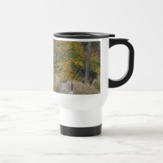 Young Bambi Deer with fall trees. 15 Oz Stainless Steel Travel Mug