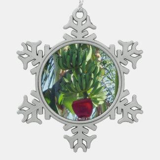 Young Bananas Snowflake Pewter Christmas Ornament