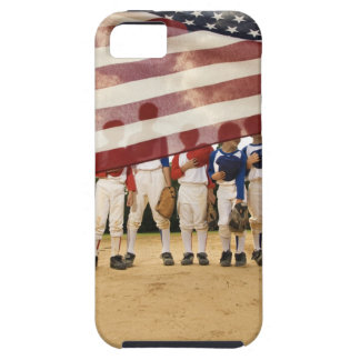 Young baseball players partially hidden by iPhone 5 covers