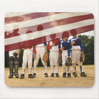 Young baseball players partially hidden by mouse pad