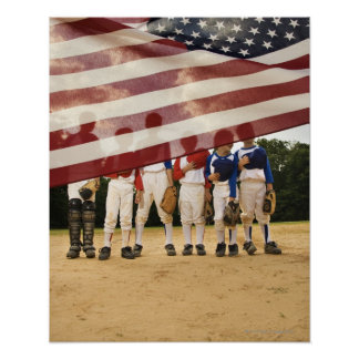 Young baseball players partially hidden by poster