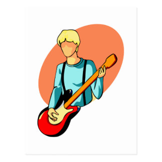 Young bass player with red bass abstract graphic postcard