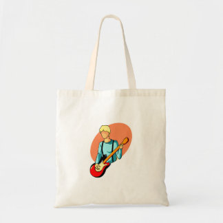 Young bass player with red bass abstract graphic tote bag