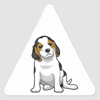 Young Beagle Puppy Triangle Sticker
