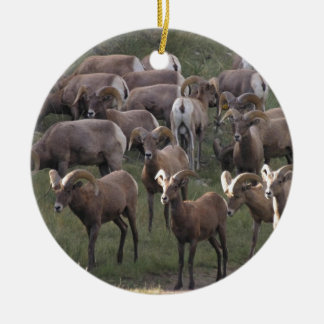 Young Bighorn Sheep Double-Sided Ceramic Round Christmas Ornament