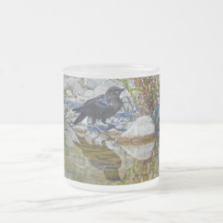 Young Black Raven Reflected in Pool Frosted Glass Coffee Mug