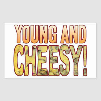 Young Blue Cheesy Rectangular Sticker