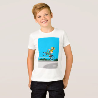Young BMX in their bicycle is impelled to give a T-Shirt
