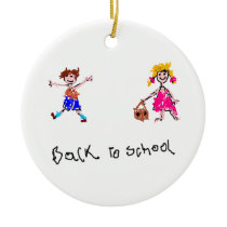 Young Boy and Girl - Back To School Ceramic Ornament