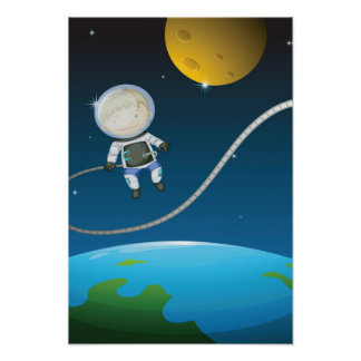 Young Boy Astronaut Poster