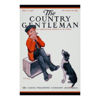 Young Boy & Border Collie~Country Gentleman Cover Print