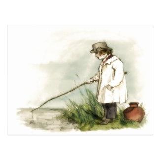 Young Boy Fishing Postcard