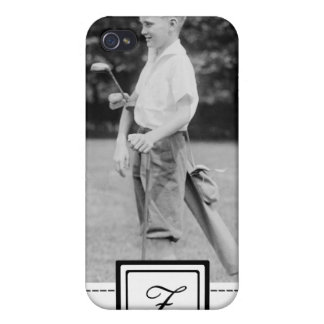 Young Boy Golf Clubs iPhone 4 Case & Monogram