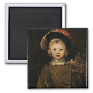 Young Boy in Fancy Dress, c.1660 (oil on canvas) 2 Inch Square Magnet