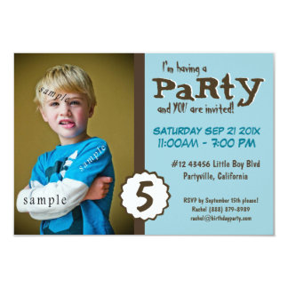Young Boy Photo Brown Blue Birthday Party Announcement