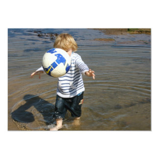 Young Boy with a Ball on the Beach Invitation