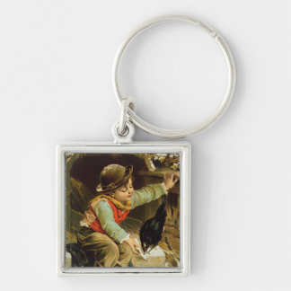 Young Boy with Birds in the Snow Key Chains