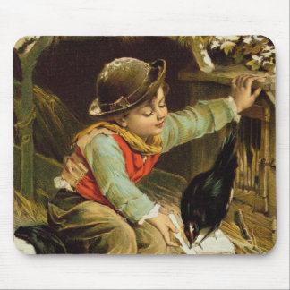 Young Boy with Birds in the Snow Mouse Pad