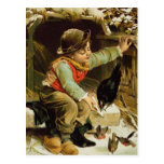 Young Boy with Birds in the Snow Postcard