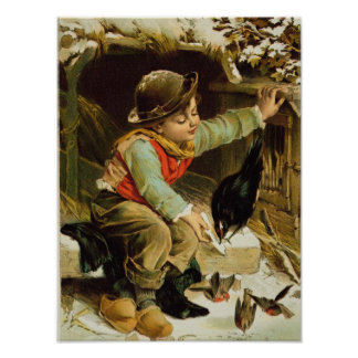 Young Boy with Birds in the Snow Poster
